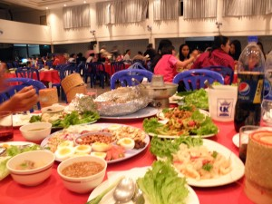 food at the new years party at UVC